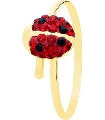 anello coccinella in oro giallo e strass rosso per