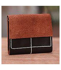leather wallet, 'versatile dark brown' (indonesia)
