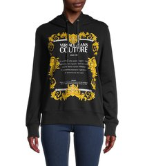 versace women's graphic printed hoodie - black gold - size xs