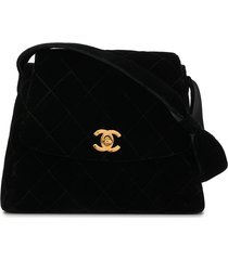 chanel pre-owned 1997 diamond quilted cc tote - black