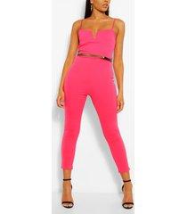plunge belted skinny jumpsuit, hot pink