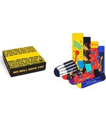 men's happy socks x queen 4-pack sock gift box, size one size - grey