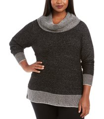 belldini plus size metallic-threaded button-trim sweater