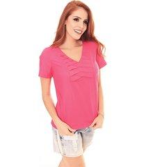 blusa sideral com pregas no decote pink