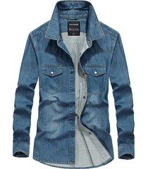 camicie in denim blu da uomo tasche doppio petto tasche in cotone solido cowboy