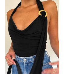 body sin espalda halter con diseño de hebilla de madera negra