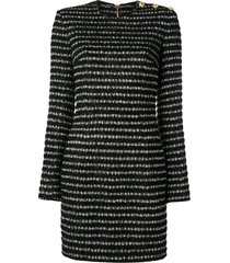 balmain fitted tweed mini dress - black