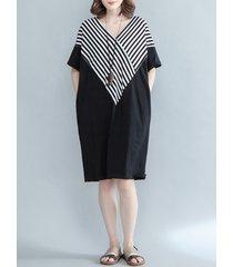 vestito da donna a scollo a v manicotto mezza manica lunga da patchwork casual