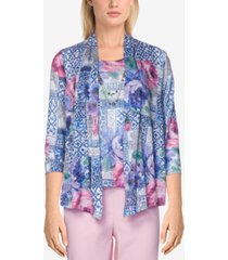 alfred dunner petite classics floral patchwork top