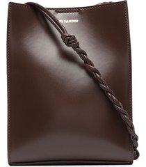 jil sander small tangle leather crossbody bag - brown