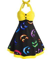 halter button front printed halloween plus size dress