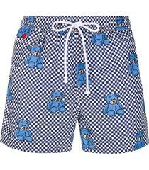 kiton short de natação xadrez com estampa de urso - azul