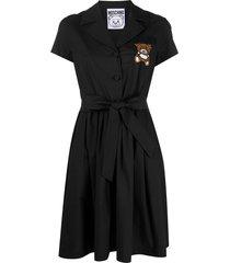 moschino teddy bear bead-embellished shirt dress - black