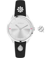 furla women's pin silver dial calfskin leather watch