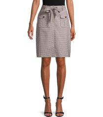 calvin klein women's belted check skirt - otter matte - size 14