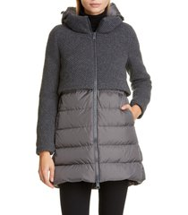 women's herno high/low knit & quilted down puffer jacket, size 16 us - grey