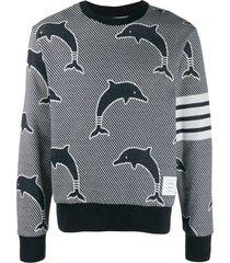 thom browne 4-bar dolphin jacquard sweatshirt - blue