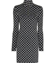 misbhv reflective monogram-print mini dress - black