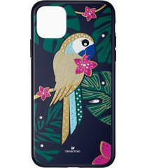 custodia per smartphone con bordi protettivi tropical parrot, iphoneâ® 11 pro max, multicolore scuro