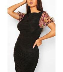 jurk met ruches, boothals en organza-mouwen, zwart