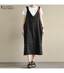 s-5xl zanzea vestido vintage sin mangas de verano para mujer mono de tirantes vestido de talla grande -negro