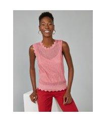 amaro feminino regata de tricot com lurex  deatlhe bordas, rosa queimado