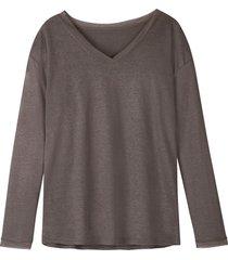 luchtig linnen-jersey shirt met v-hals, taupe 36/38