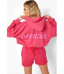 official hoodie met strik, dark pink
