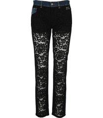 dolce & gabbana dolce & gabbana denim and lace boyfriend jeans