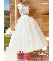 2015 vintage ball gown scoop lace white wedding dress princess beach bridal gown
