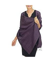silk and cotton blend batik shawl, 'romance in aubergine' (thailand)