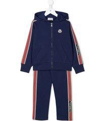 moncler enfant racer stripe track suit set - blue