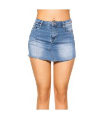 sexy lightwash jeans-shorts-rok gebruikte used look jeansblauw