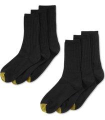 gold toe women's ribbed crew 6 pack socks