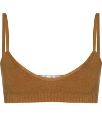 off-white fine-knit strappy bralette - brown