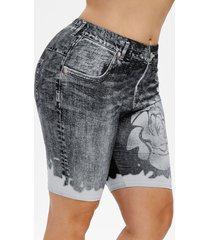 plus size 3d denim print short leggings