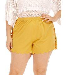 plus talla pantalones cortos de cintura elástica amarilla