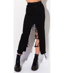 akira kiki riki causing a commotion center slit denim maxi skirt