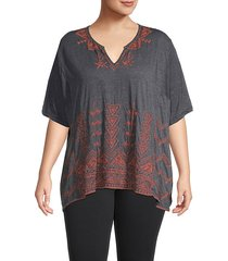 plus eyal embroidered knit tunic top