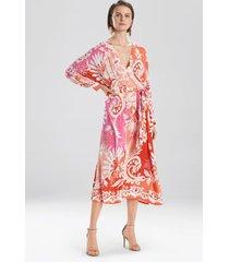 mantilla scroll beaded maxi dress, women's, red, silk, size m/l, josie natori