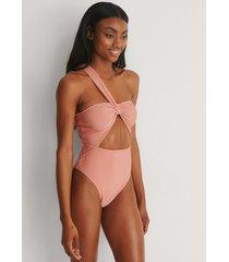 na-kd swimwear recycled baddräkt med ett axelband - pink