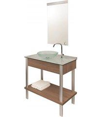conjunto de gabinete e espelheira em mdf wood set 80cm travertino