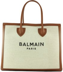 balmain ecru canvas b-army 42 tote bag