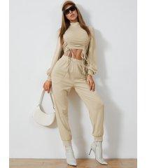 yoins conjunto de pantalón y top de manga larga con cuello simulado con cordón