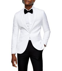 men's topman dax skinny fit blazer, size 38 r - white