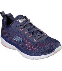 zapatos mujer  flex appeal 3.0 breezin 27 kick azul skechers
