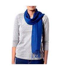 wool scarf, 'kashmiri diamonds in lapis' (india)