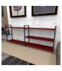 estante industrial aço preto 180x30x68cm (c)x(l)x(a) mdf vermelho modelo ind38vrest