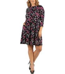 24seven comfort apparel floral print fit n flare pockets plus size dress