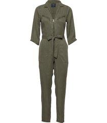 zipper utility jumpsuit jumpsuit groen abercrombie & fitch